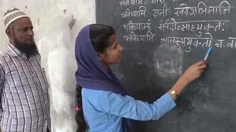 The principal of the Madrasa, Hafiz Nazre Alam, noted that being a modern establishment under the Uttar Pradesh Education Board, languages like Arabic are being taught as well. (Photo: ANI)