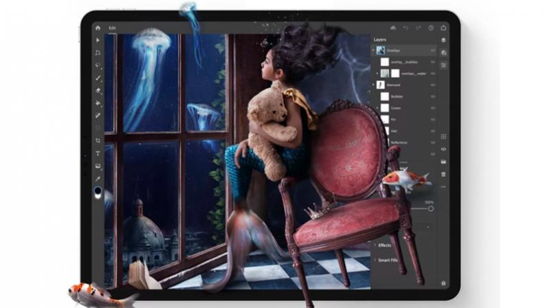 Adobe Photoshop on an iPad is available to Creative Cloud customers.