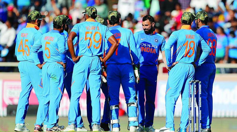The Indian cricket team during its ODI against Australia in Ranchi on March 8	(Photo: PTI)
