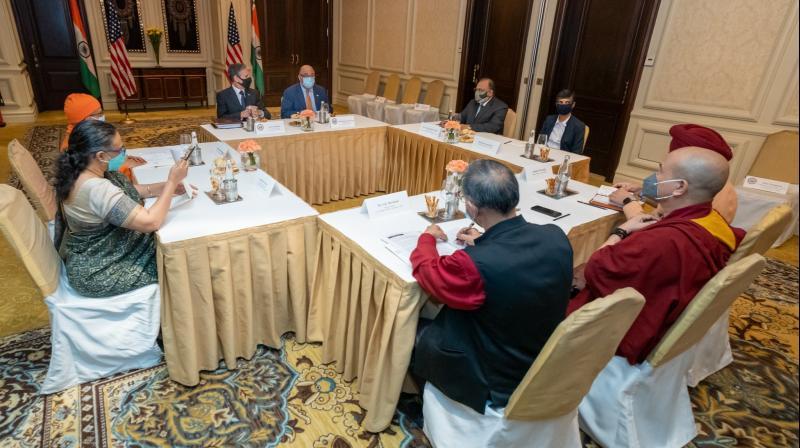 US Secretary of State Antony Blinken in a meeting with civil society leaders. (Photo: Twitter/@SecBlinken)