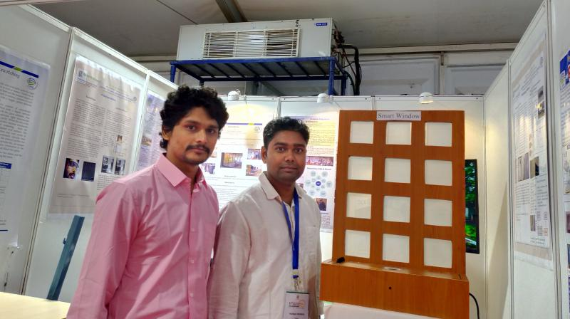 The smart window designed by CeNS, which is tailor-made for the construction industry to build buildings that do not trap heat and therefore need less energy, is displayed at the 11th Bengaluru Nano India show. (Photo | The Asian Age)