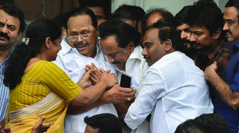 DMK leader M.K. Stalin (above) breaks down after the Madras high court's verdict to allow the burial of his father M. Karunanidhi at Marina Beach. (Photo: Asian Age)