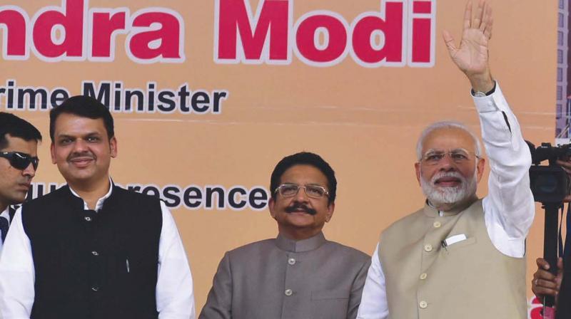 Prime Minister Narendra Modi on Tuesday laid the foundation stone for the Metro 5 and Metro-9 at Kalyan in Thane district. (Photo: Debasish Dey)