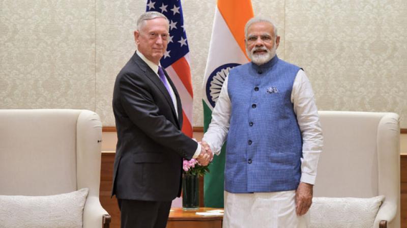 The US Defence Secretary Jim Mattis calls on the Prime Minister Narendra Modi, in New Delhi (Photo: PIB)