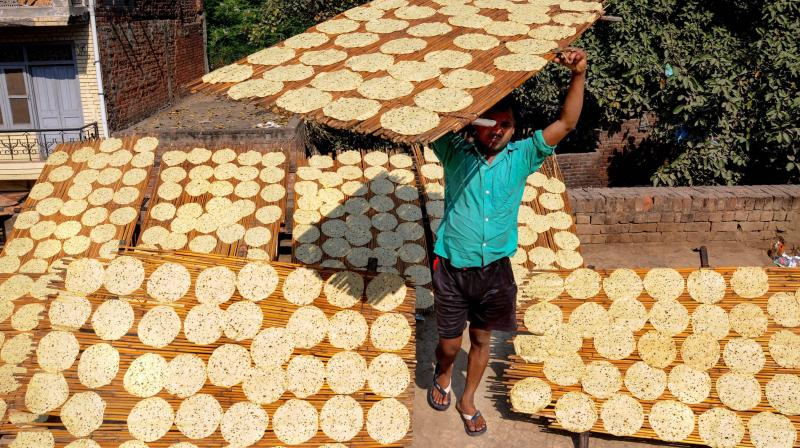 A worker carries a wooden plank topped with Papad for sun-drying at a manufacturing unit in Amritsar. (Photo- PTI)