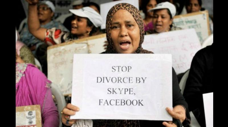 Under the draft law, triple talaq in any form -- spoken, in writing or by electronic means such as email, SMS and WhatsApp -- would be bad or illegal and void. (Photo: PTI)