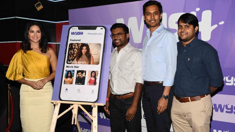 Sunny Leone with Varun MS, Manan Maheswari, Mahesh Gogineni during the launch of WYSH Application.