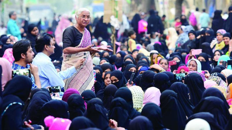 Medha Patkar at Mumbai Bagh on Tuesday. (Photo: Asian Age)