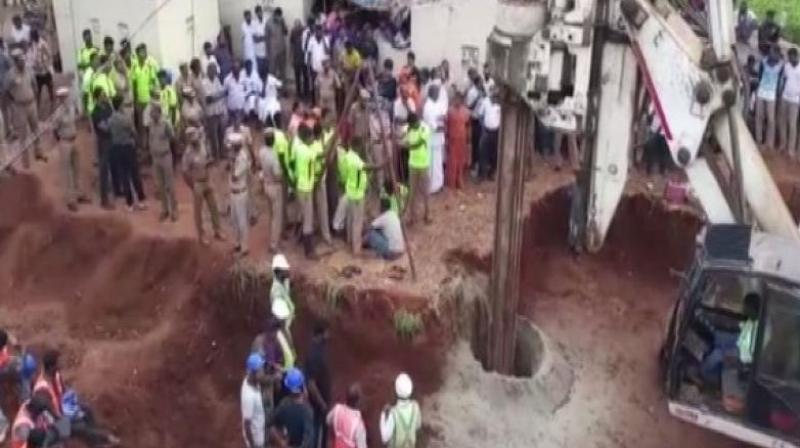 The two-year-old boy, Sujith Wilson, who is trapped in borewell in Tamil Nadu's trichy for over 60 hours now, had fainted but was breathing, said authorities on Sunday night. (Photo: File)