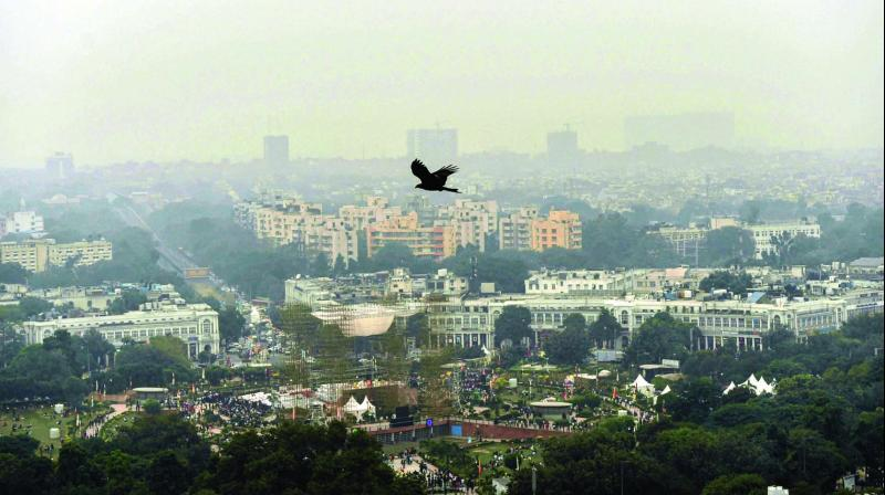 An aerial view of Connaught Place shrouded in heavy haze post-Diwali celebrations in New Delhi on Monday. (Photo: PTI)