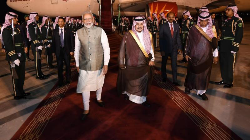 Prime Minister Narendra Modi arrived in Riyadh late on Monday night on a two-day visit, during which he will attend the third edition of Saudi Arabia's high-profile annual financial conference and hold bilateral talks with top leadership of the Gulf Kingdom. (Photo: Twitter/ PMO)