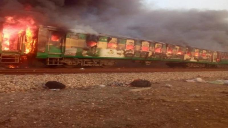 At least 13 people were killed and 30 others injured as a fire broke out on a train in Pakistan on Thursday after a gas canister carried by a passenger exploded. (Photo: ANI)
