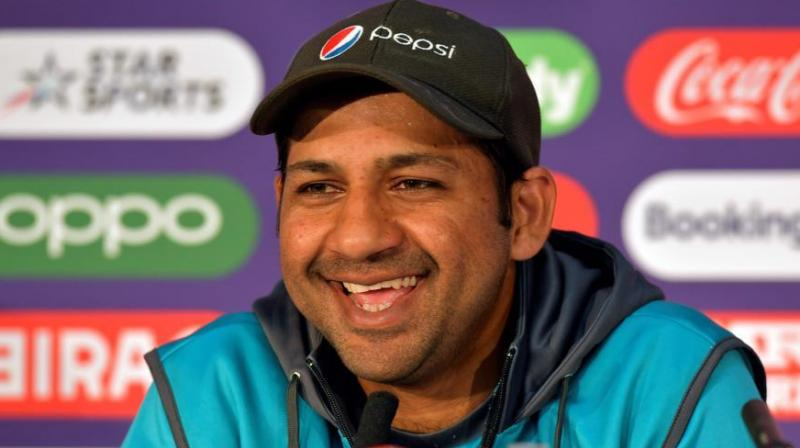 Sarfaraz Ahmed speaks during a press conference at Lord's cricket ground. (Photo; AFP)