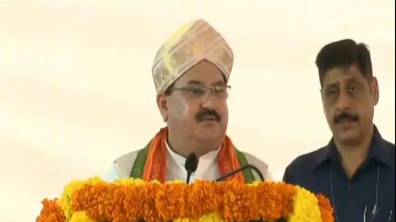 The BJP working president Nadda also mentioned about Sheikh Abdullah, the former Chief Minister of Jammu and Kashmir, in his address and claimed that he rigged the first Vidhan Sabha elections in 1951 and changed his stance over the status of Jammu and Kashmir after sweeping the polls. (Photo: ANI)