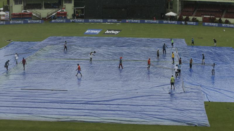 Toss has been further delayed. Next pitch inspection is scheduled to take place at 8:30 pm IST. (Photo: AP/PTI)