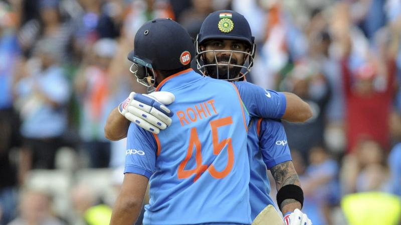 Set a victory target of 265 by a Bangladesh team playing its first semifinal at a global tournament, India never looked in danger as Sharma hit an unbeaten 123 for his 11th ODI hundred and was accompanied at the finish by captain Virat Kohli (96 not out). (Photo: AP)