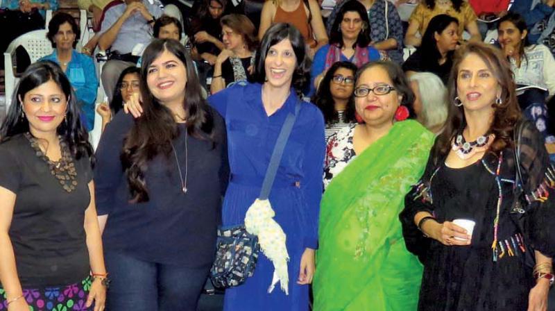 From Left: Amrita Chowdhury, Harnidh Kaur, Meher Mirza, Paromita Vohra and Shobhaa De