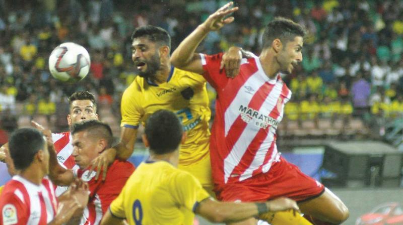 Action from the Toyota Yaris La Liga World pre-season friendly between Girona FC and Kerala Blasters at the Jawaharlal Nehru Stadium in Kochi on Saturday. Girona beat Kerala 5-0. (Photo: Sunoj Ninan Mathew)