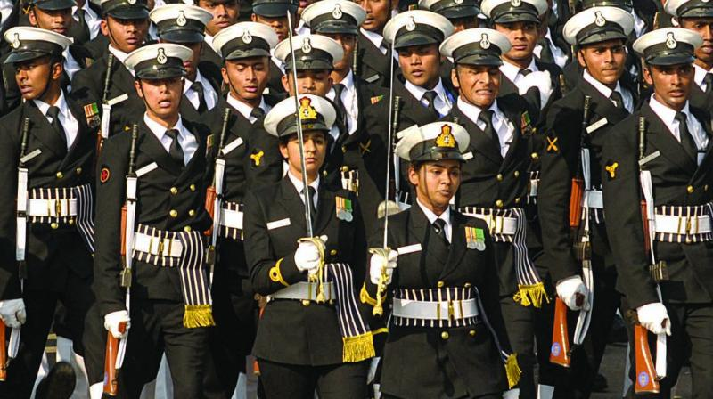 The Naval contingent marches at Rajpath. (PRITAM BANDYOPADHYAY)