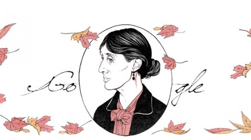 Created by London-based illustrator Louise Pomeroy, Thursday's Doodle celebrates Woolf's minimalist style. (Screengrab/ Google)