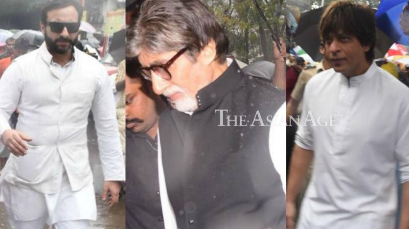 Saif Ali Khan, Shah Rukh Khan, Amitabh Bachchan arriving for Shashi Kapoor's funeral. (Photo: Viral Bhayani)