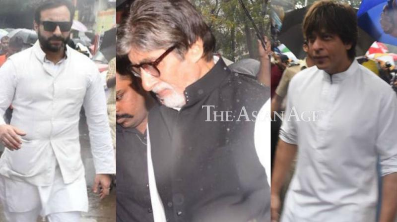 Kapoor family and Bollywood stars turned up amid heavy rains at the funeral of Shashi Kapoor, who passed away on Monday, held in Mumbai on Monday. (Photo: Viral Bhayani)