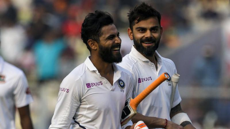 Skipper Virat Kohli (130) and Ravindra Jadeja (12) were at the crease during the break with India leading by 183 runs. (Photo :AP)