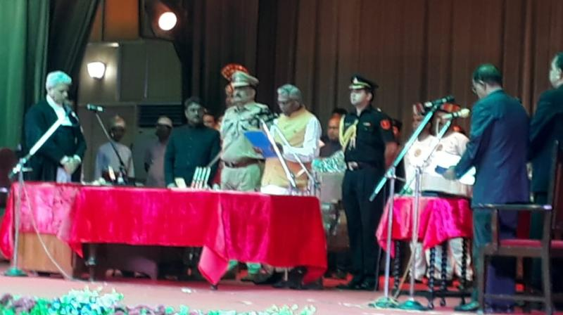 He was administered the oath by Patna High Court Chief Justice Amreshwar Pratap Sahi at a programme held at Raj Bhawan here in the presence of Chief Minister Nitish Kumar and deputy CM Sushil Kumar Modi, besides several ministers. (Photo: Twitter I @airnews_hyd)