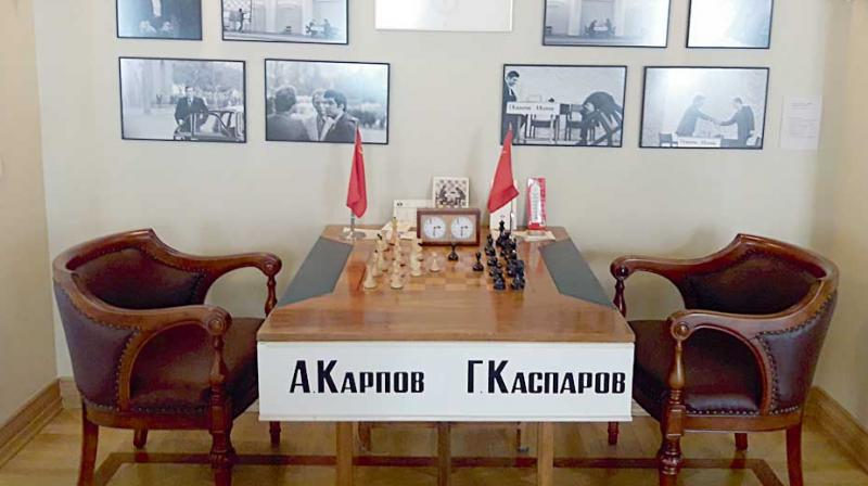 Artefacts of the 1984 world chess championship match between Anatoly Karpov and Garry Kasparov on display.