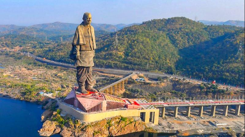 The 182-metre structure of Sardar Vallabhbhai Patel is touted as the world's tallest. (Photo: @PMO/Twitter)