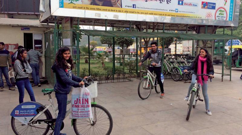 The bike-sharing scheme at Barakhamba. (Photo: Asian Age)