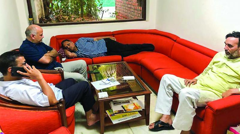 Health minister Satyendar Jain and Deputy Chief Minister Manish Sisodia, who along with Kejriwal and Development Minister Gopal Rai have stayed put at L-G office since Monday evening, have been sitting on hunger strike since Tuesday and Wednesday respectively. (Photo: PTI )