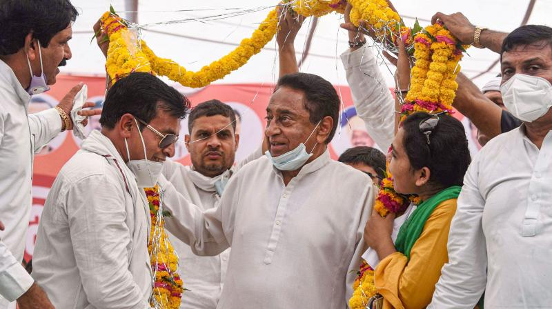 Former chief minister and senior Congress leader Kamal Nath during a public meeting ahead of the by-elections, at Sanwer village in Indore. (PTI)