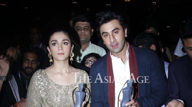 Ranbir Kapoor and Alia Bhatt, who are set to share screen space in 'Dragon', won awards at the Lokmat Awards held in Mumbai on Tuesday. (Photo: Viral Bhayani)