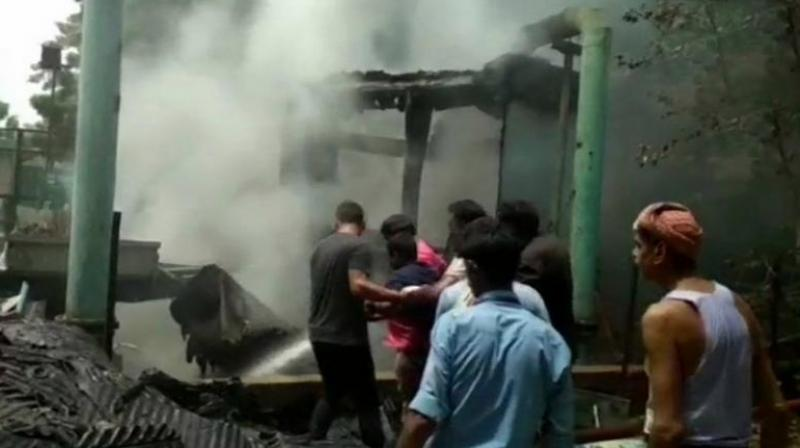 Eight fire-fighting engines were rushed to the location to bring the blaze under control. (Photo: Twitter   ANI)