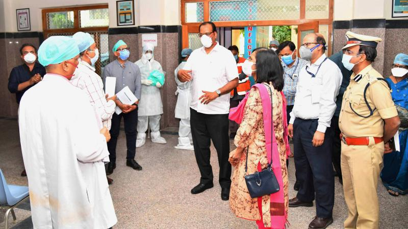 The Inter Ministerial Central Team visits King Koti Hospital in Hyderabad to assess Telangana state's response to the Covid crisis. (PTI)