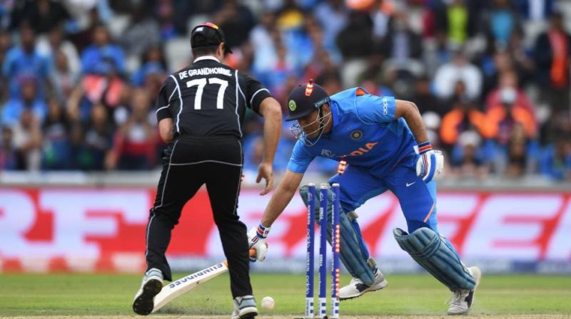 After losing six wickets in quick successions, Mahendra Singh Dhoni was looking to forge a partnership with left-arm off-spinner Ravindra Jadeja to help India get over the line as India look to chase down a stiff target of 240. (Photo: cricketworldcup/twitter)