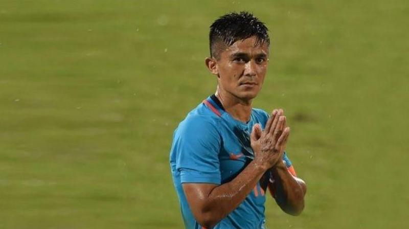 After his brace against Tajikistan, Sunil Chettri became the second-highest goalscorer with a goal tally of 70. (Photo:AFP)