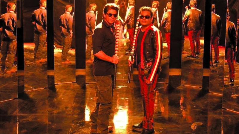 Shah Rukh Khan and AR Rahman's still from the video