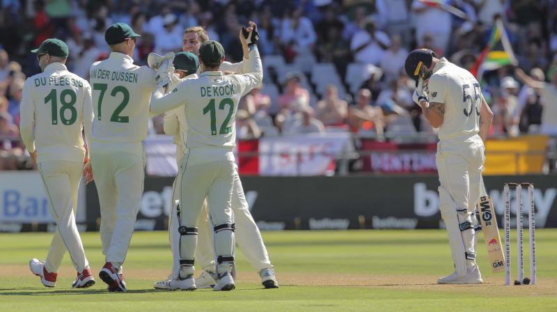 South Africa's Anrich Nortje took the vital wickets of captain Joe Root and talisman Ben Stokes as England struggled to 262 for nine at stumps on the first day of the second test on Friday. (Photo:AP/PTI)