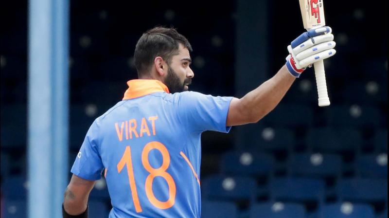 Bhuvneshwar Kumar's remarks come after Kohli's knock of 120 runs in the match. With this knock, Virat Kohli became the highest run-getter for india in ODIs against West Indies, going past Pakistan's Javed Miandad. Kohli has also become the second-highest run-getter for India in ODIs. (Photo:AP/PTI)
