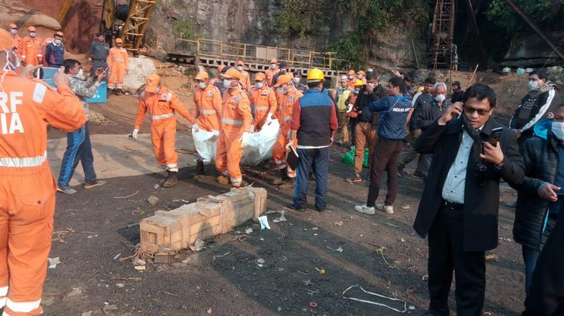 The body was pulled out in a joint operation by the NDRF and Indian Navy. (Photo: ANI   Twitter)