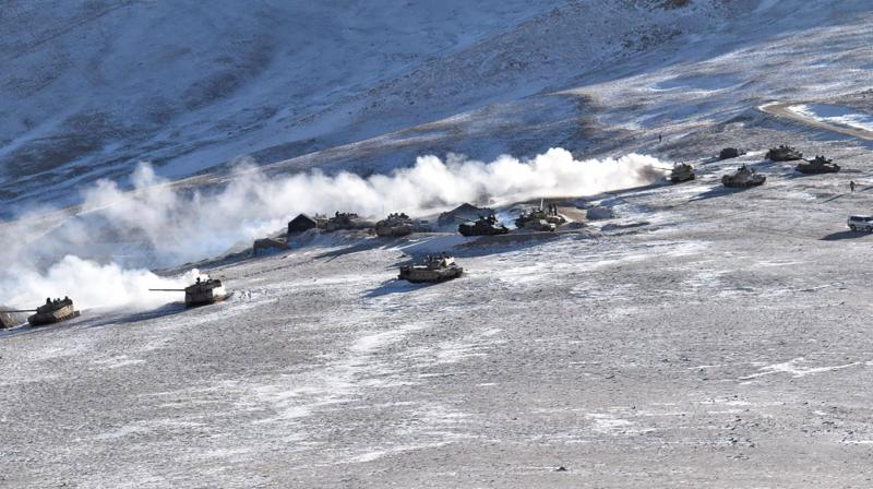 Tanks pull back from the banks of Pangong Tso lake region, in Ladakh along the India-China border on Wednesday, Feb. 10, 2021.  (AP)