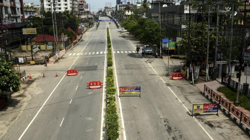 A deserted Guwahati road. (PTI)