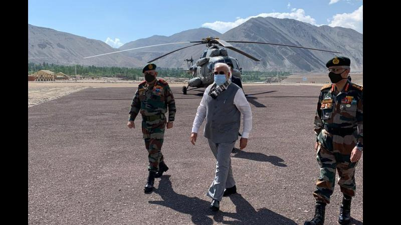 PM Modi along with CDS Bipin Rawat and Indian Army chief MM Naravane visit Leh. (PTI)