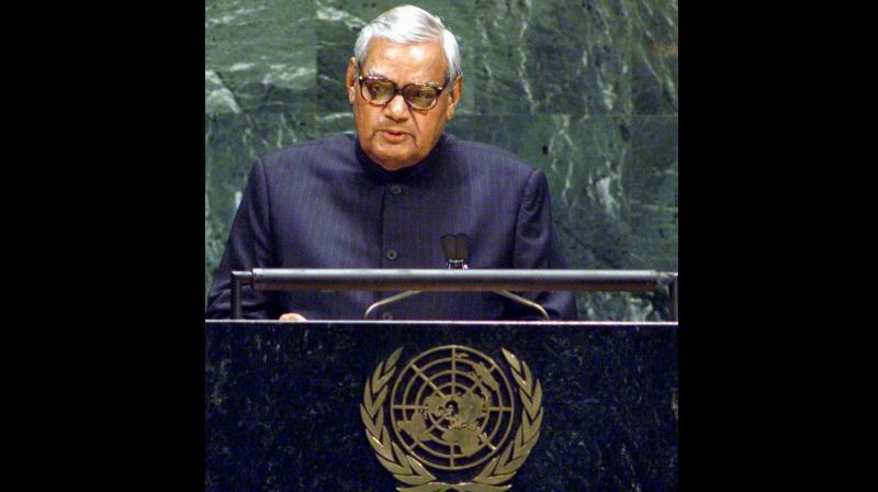 Known for his great oratory skills, Vajpayee first addressed the UNGA's 32nd session in 1977 as the foreign minister under the Janata Party government headed by then prime minister Morarji Desai. (Photo: PTI)