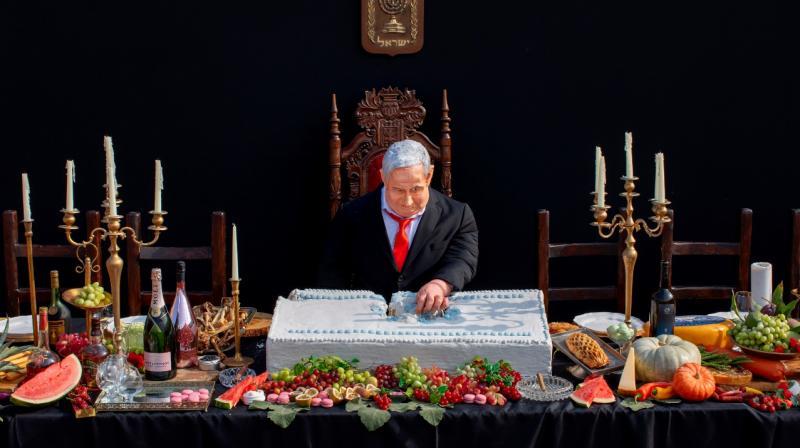An installation depicting Prime Minister Benjamin Netanyahu at a mock