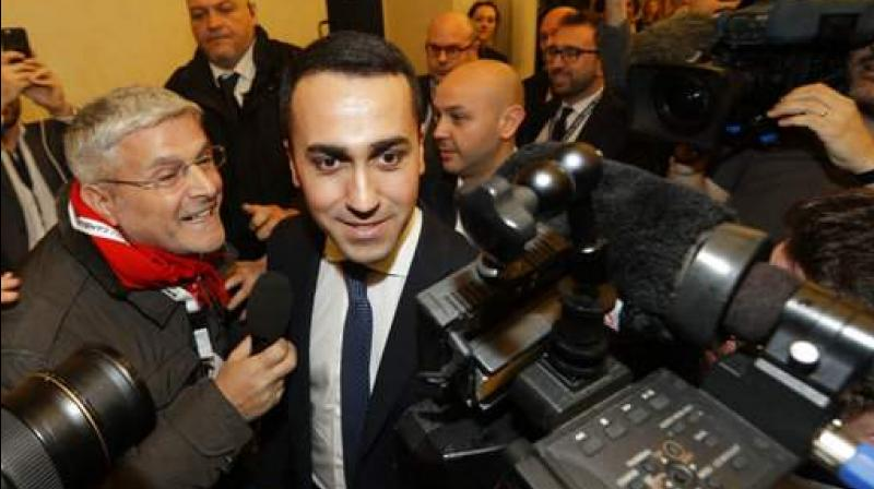 5-Stars Movement's leader Luigi Di Maio arrives for a press conference on the preliminary election results, in Rome. (Photo: AP)