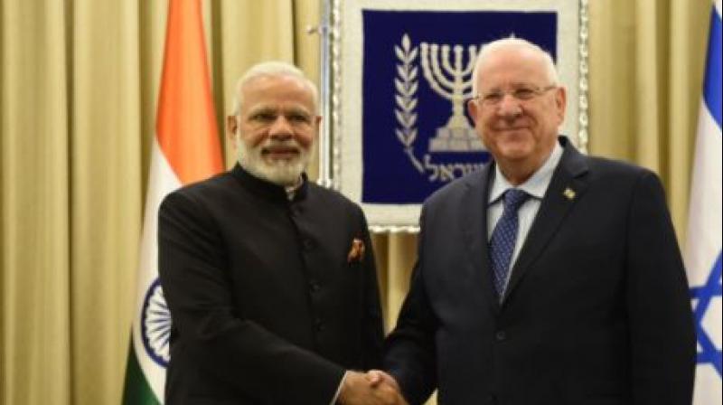 Prime Minister Narendra Modi meets Israeli President Reuven Rivlin (Photo: Twitter)