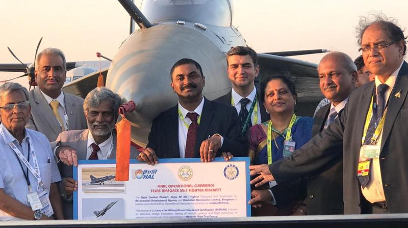 At a special ceremony at the Aero India 2019 - India's biennial air show in Bengaluru- the country's military aviation regulator handed over the final operational clearance certificate and other release-to-service documents to Chief of Air Staff Air Marshal Birender Singh Dhanoa. (Photo: Twitter | @DRDO)